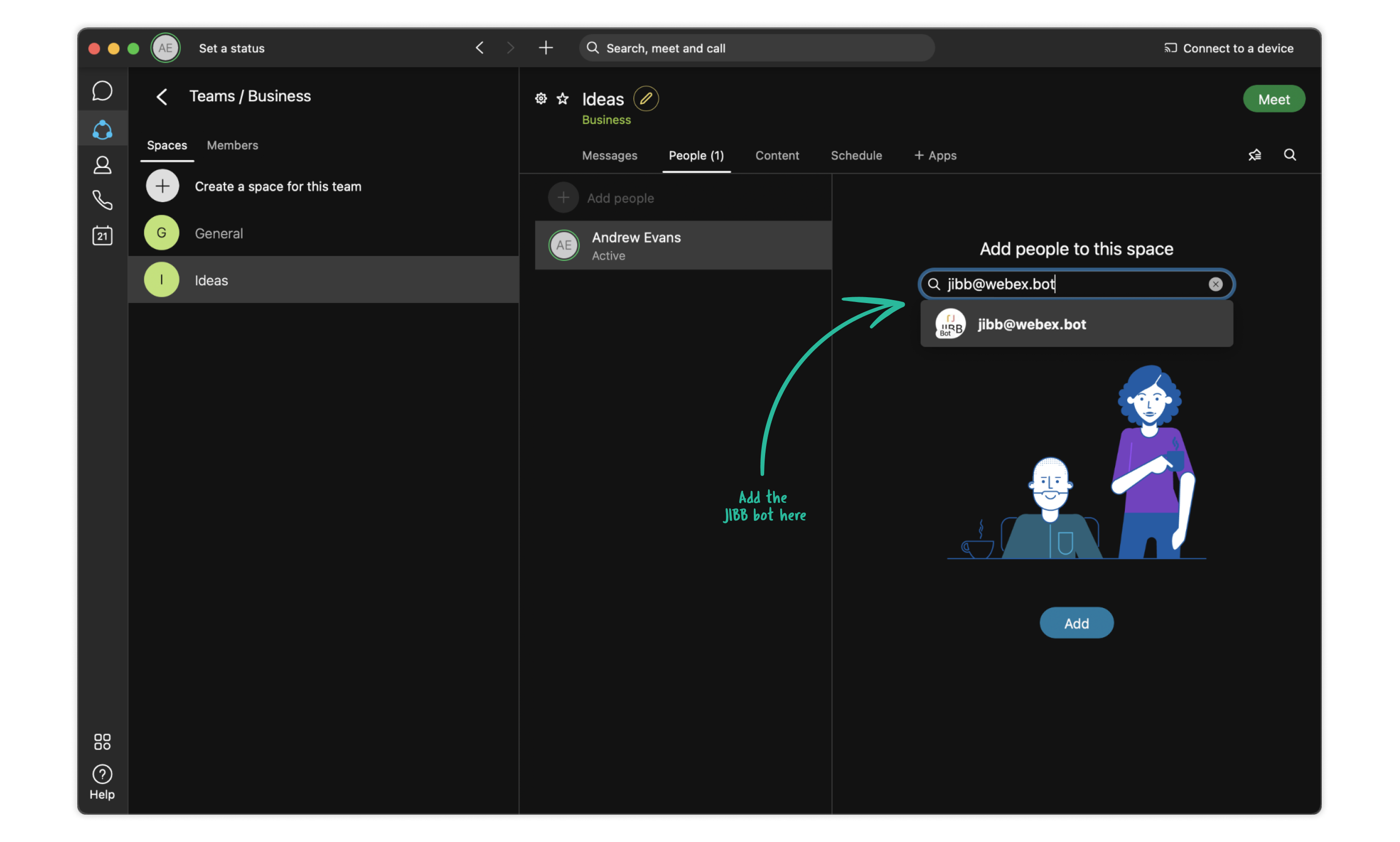 JIBB bot to a Webex space