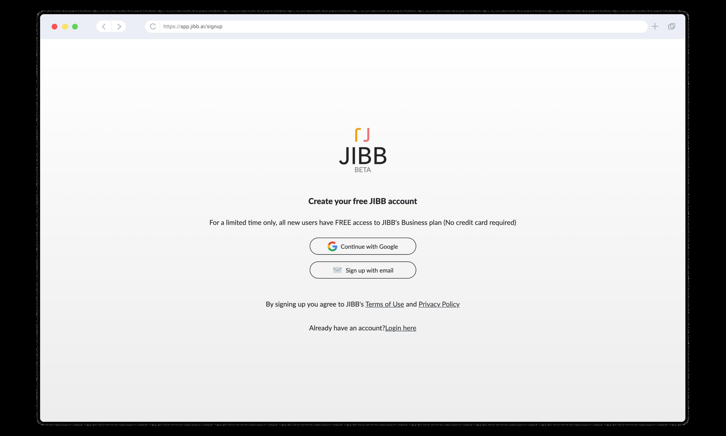 JIBB Landing page