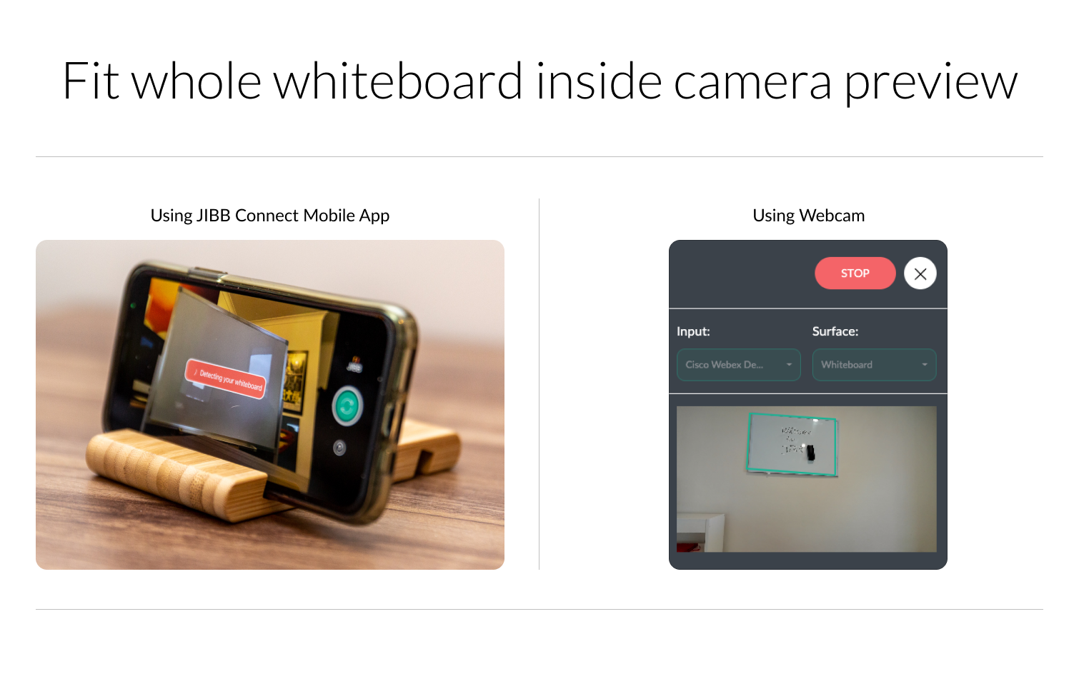 Whiteboard camera preview